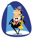 Jazz trumpeter. Jazz musician playing trumpet in the hat Royalty Free Illustration