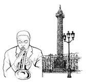 Jazz trumpeter in Paris. Vector illustration of a jazz trumpeter in Paris Royalty Free Stock Photo