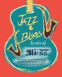Jazz und Blau-Hand gezeichnetes Plakat Lizenzfreie Stockfotografie