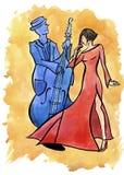 Jazz vrouwelijke zanger en bassist vector illustratie