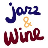 Jazz and wine hand drawn lettering in cartoon style. Minimalism stock illustration