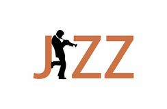 Jazz wordmark logo. A jazz wordmark in which the border of the letter J and a jazz trumpet player leaning on that letter form another letter - the letter A. It Royalty Free Stock Photography