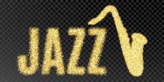 Jazz y saxofón de la inscripción del brillo del oro Jazz de oro de la palabra del sparcle en fondo transparente negro Oro ambarin Imagenes de archivo