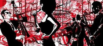 Jazzaffiche met saxofoon, dubbel-baarzen en trommel stock illustratie