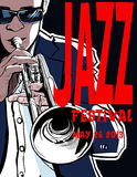 Jazzaffiche met trompetter Stock Fotografie