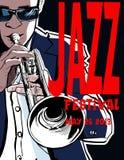 Jazzaffisch med trumpetaren Arkivbild