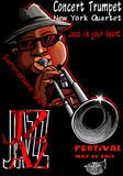 Jazzaffisch med trumpetaren Arkivfoto