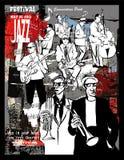 Jazzaffisch, musiker på en grungebakgrund Royaltyfri Foto