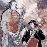 Jazzband auf einem bunten Hintergrund Stockfoto