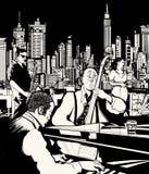 Jazzband, die in New York spielt Lizenzfreie Stockfotos