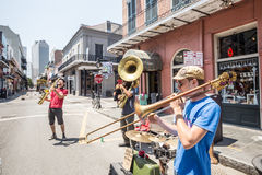 Jazzband in Franse QuarterIn, New Orleans Royalty-vrije Stock Fotografie