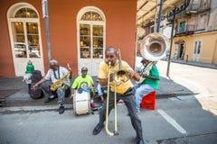 Jazzband i franska QuarterIn, New Orleans Royaltyfri Bild