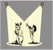 Jazzband met trompet en dubbele baarzen royalty-vrije illustratie