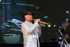 Jazzbandkapacitet på nätter för festival för öppen luft vita Royaltyfri Foto