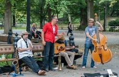 Jazzbandlekmusik på Central Park, New York City USA fotografering för bildbyråer