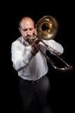 Jazzer über Schwarzem Lizenzfreies Stockfoto