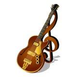 Jazzgitaar met een g-sleutel en een schaduw Stock Afbeelding