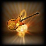 Jazzgitaar op een vage g-sleutel als achtergrond Royalty-vrije Stock Foto