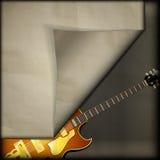 Jazzgitarr med gammal pappers- bakgrund Fotografering för Bildbyråer