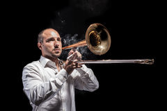 Jazzing avec le trombone Photo stock