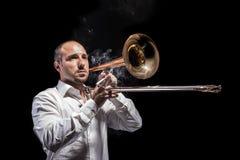 Jazzing met trombone Stock Foto