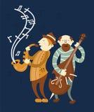 Jazzkonzert-Musikspieler Saxophon und Celloband vektor abbildung