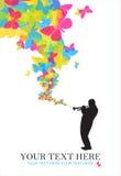 Jazzman met vlinders Royalty-vrije Stock Afbeelding