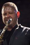 Jazzman Mikolaj Trzaska under konsert Royaltyfria Foton