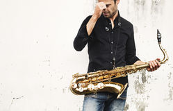 Jazzman Musical Artist Playing Saxophone Concept Stock Images