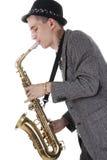 jazzmannen plays saxofonen Arkivfoto