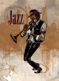 Jazzmens het spelen trompet Musicusprestaties stock illustratie