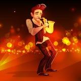 Jazzmens met saxofoon vectorillustratie vector illustratie