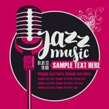 Jazzmusik med en mikrofon stock illustrationer