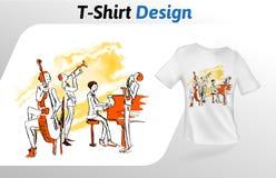 Jazzmusiker, die zusammen, T-Shirt Druck spielen Spott herauf T-Shirt Designschablone Vektorschablone, lokalisiert auf Weiß Stockbilder
