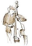 Jazzmusiker som spelar musik bas Royaltyfria Bilder