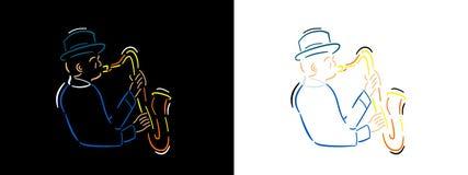 Jazzmusikerillustration in der Linie Kunstart auf schwarzem Hintergrund und weißem Hintergrund Jazzmanfarbvektorlinie Kunst vektor abbildung