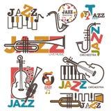 Jazznacht of de levende malplaatjes van het het overlegembleem van het muziekfestival Stock Foto