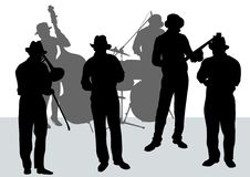 jazzorkester stock illustrationer