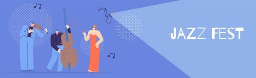 Jazzowego Fest Płaski sztandar dla pojęcie Muzykalnego projekta ilustracja wektor