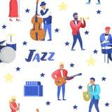 Jazzowej muzyki charakterów Bezszwowy wzór Instrumenty Muzyczni, muzycy i piosenkarzów artyści, Kontrabasista, dobosz ilustracja wektor