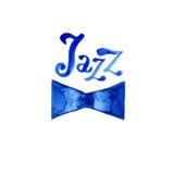 Jazzowej muzyki loga plakata szablon Abstrakcjonistyczny akwareli tło dla karty, ulotka, ulotka, broszurka, sztandar, sieć projek Obraz Stock