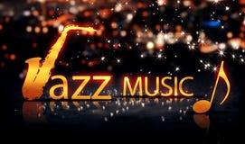 Jazzowej muzyki miasta Bokeh gwiazdy połysku Saksofonowy Złocisty kolor żółty 3D Obrazy Stock