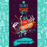 Jazzowej muzyki plakat, bilet lub program, Ręka rysująca ilustracja z muśnięć uderzeniami dla festiwalu jazzowego ilustracja wektor