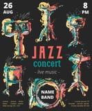 Jazzowej muzyki przyjęcie z bębenu zestawem z grunge akwarelą bryzga Zdjęcie Stock