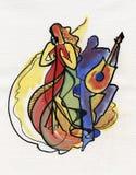 Jazzowy żeński piosenkarz i gitarzysta Zdjęcie Royalty Free