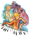 Jazzowy żeński piosenkarz, pianista i basista, royalty ilustracja