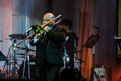 Jazzowy kolonelu zespół wykonuje w jazzie w pamięci przy Bangsaen Obraz Royalty Free