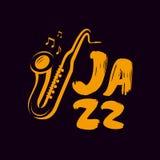 Jazzowy logo lub etykietka Muzyka na żywo, saksofon, błękita symbol również zwrócić corel ilustracji wektora ilustracja wektor
