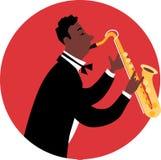 Jazzowy mężczyzna bawić się saksofon ilustracji