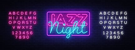 Jazzowy noc neonowego znaka wektor Jazzowej muzyki projekta szablonu neonowy znak, lekki sztandar, neonowy signboard, śródnocny j royalty ilustracja